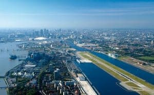 London's City Airport - where Flybe flight No. BE1301 landed without me on it!
