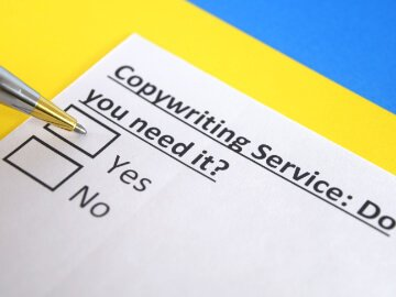 Tick box showing you should use a copywriter