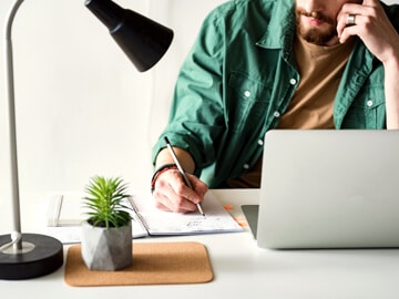 Freelancer working on a laptop