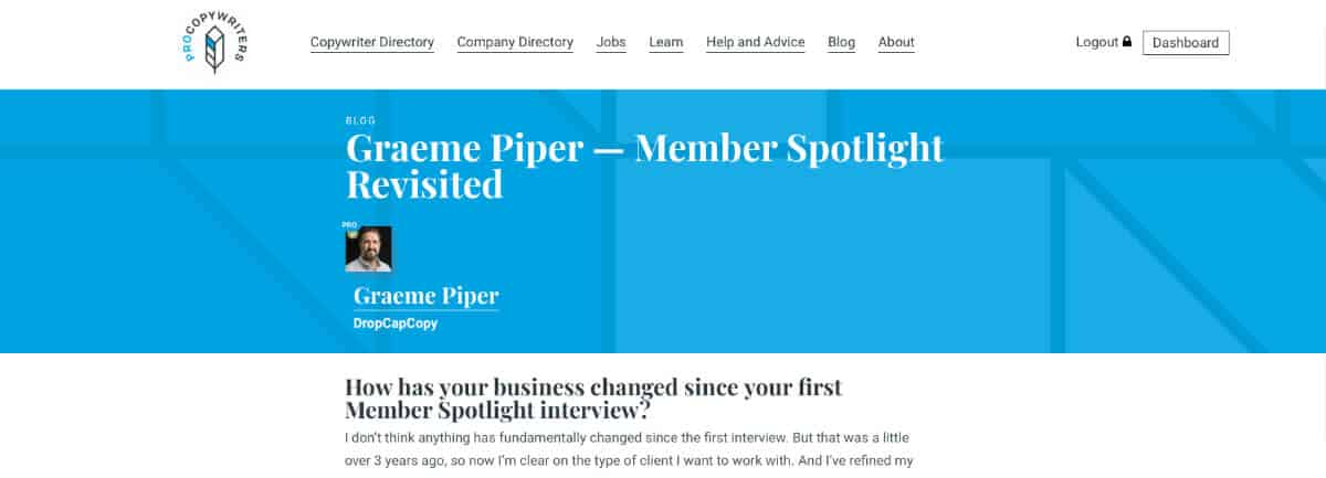 Screen shot of Graeme Piper DropCapCopy Member Spotlight interview